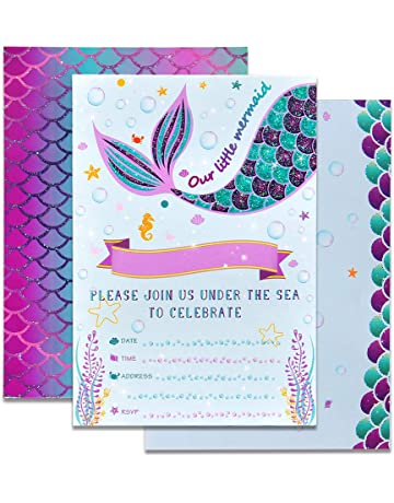 d9594117c WERNNSAI Mermaid Party Invitations - 20 Set Magical Glitter Fill in Mermaid  Invitations with Envelopes for
