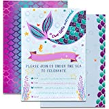 WERNNSAI Mermaid Party Invitations - 20 Set Magical Glitter Fill in Mermaid Invitations with Envelopes for Kids Girls…