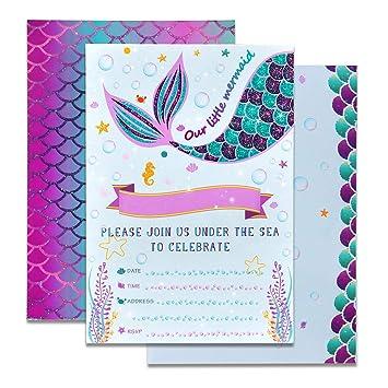 WERNNSAI Invitaciones de la Sirena - 20 Set Mágico Resplandecer Llenar Invitaciones De Sirena con Sobres para Niños Chicas Birthday Baby Shower Boda ...