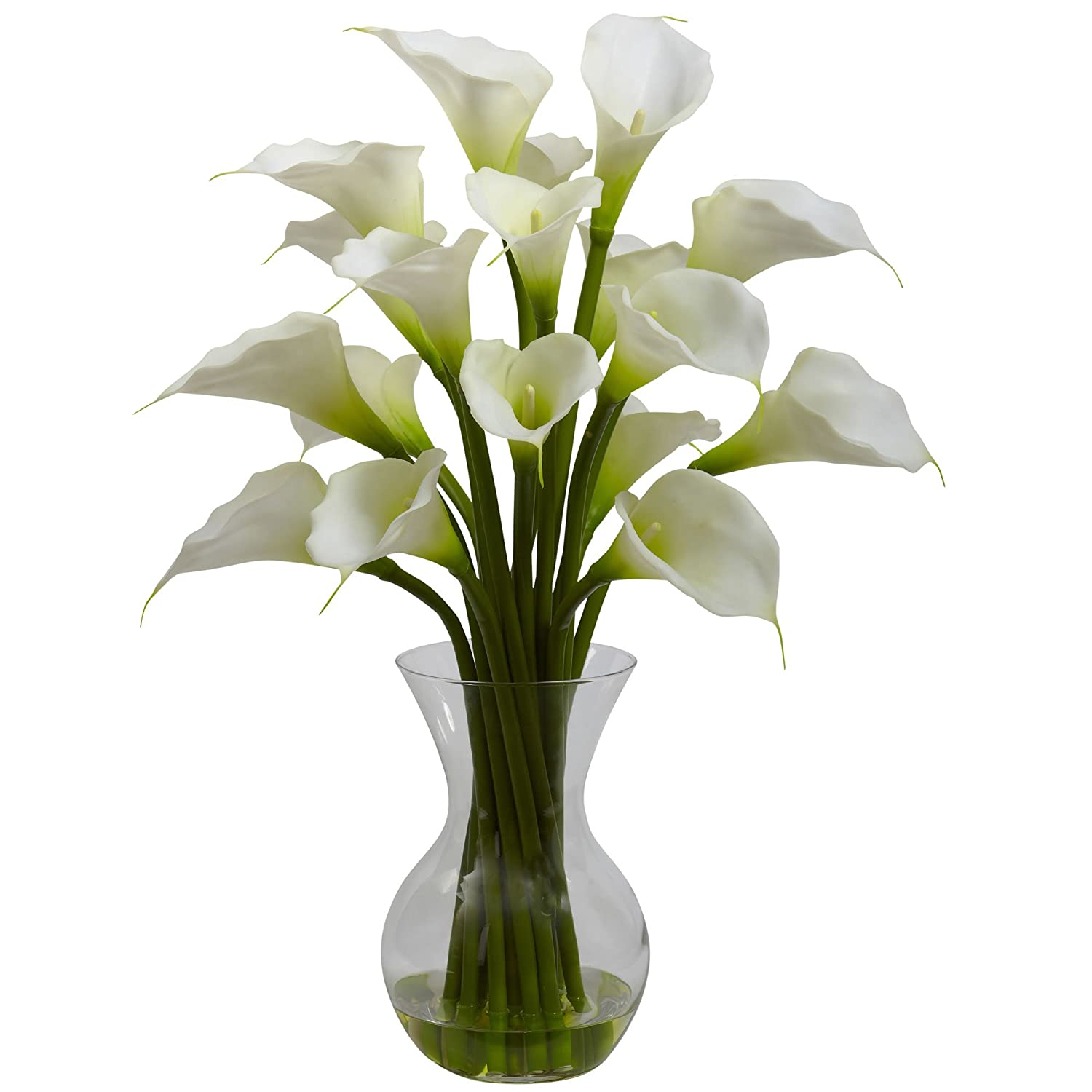Nearly Natural 1299-CR Galla Calla Lily with Vase Arrangement, Cream