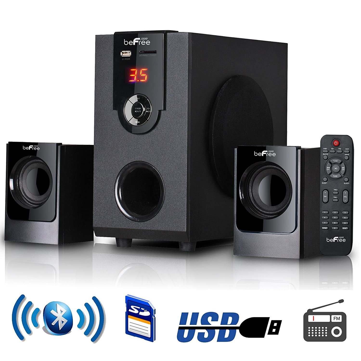 befree sound bfs 30 2 1 channel surround bluetooth home theater speaker system ebay. Black Bedroom Furniture Sets. Home Design Ideas