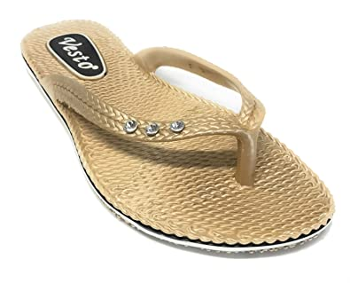 bc944c41096a Vesto Ladies Metallic Comfort Flip Flop with Rhinestone 5-6 B(M) US