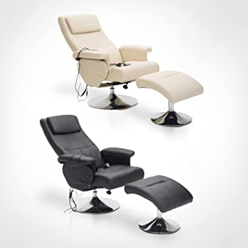Homcom Fauteuil de Massage et Relaxation électrique Chauffant pivotant inclinable avec Repose Pied crème