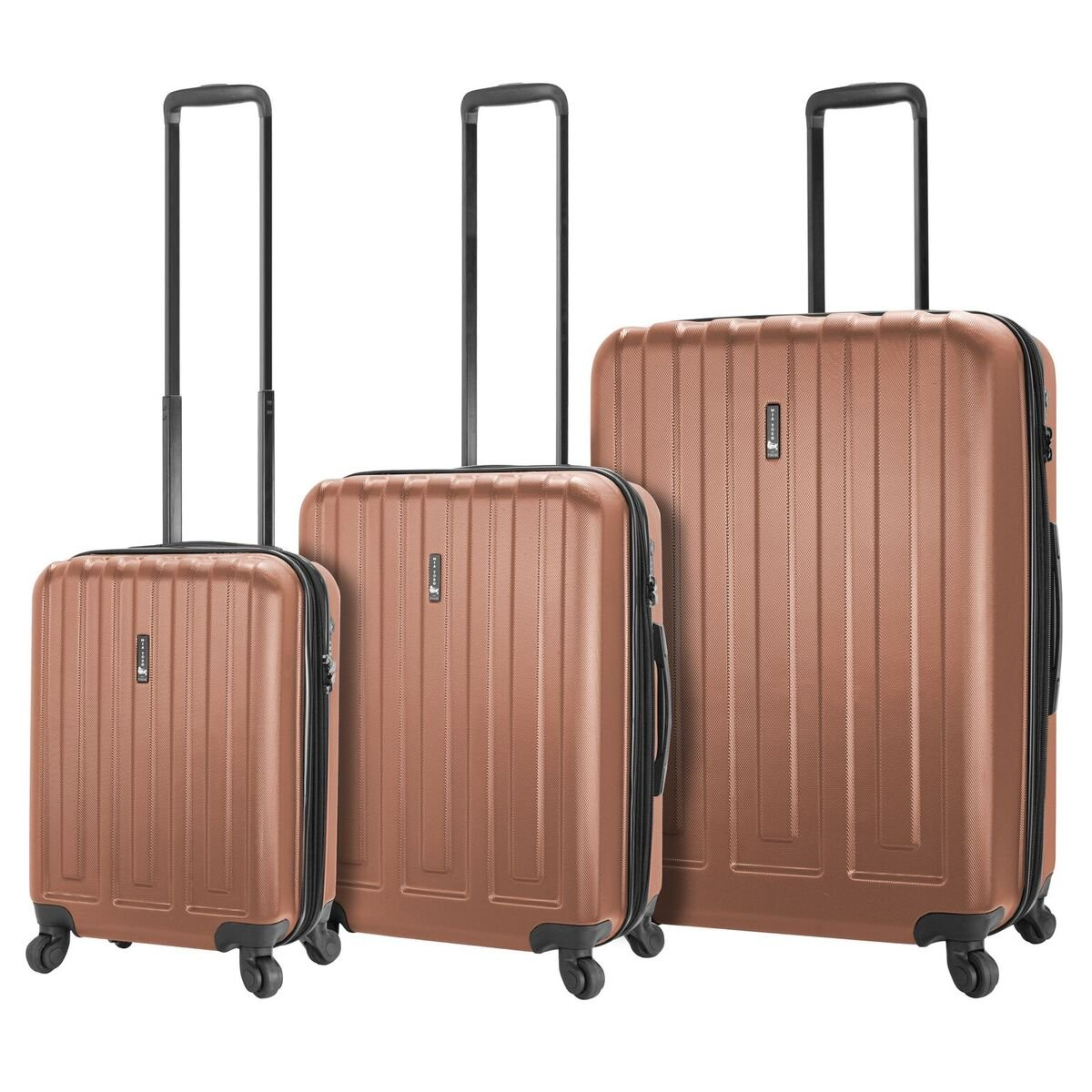 Mia Toro Italy Illeso Hardside Spinner Luggage 3pc Set-Champagne
