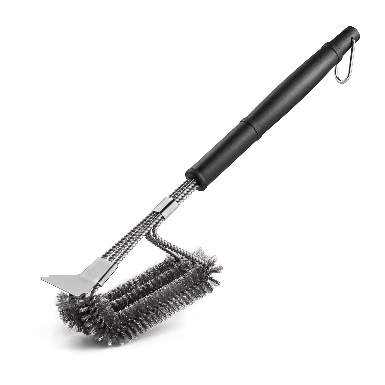 Deppon 18'' 3 in 1 Stainless Steel Triple Head BBQ Grill Cleaning Brush Scraper with Long Handle