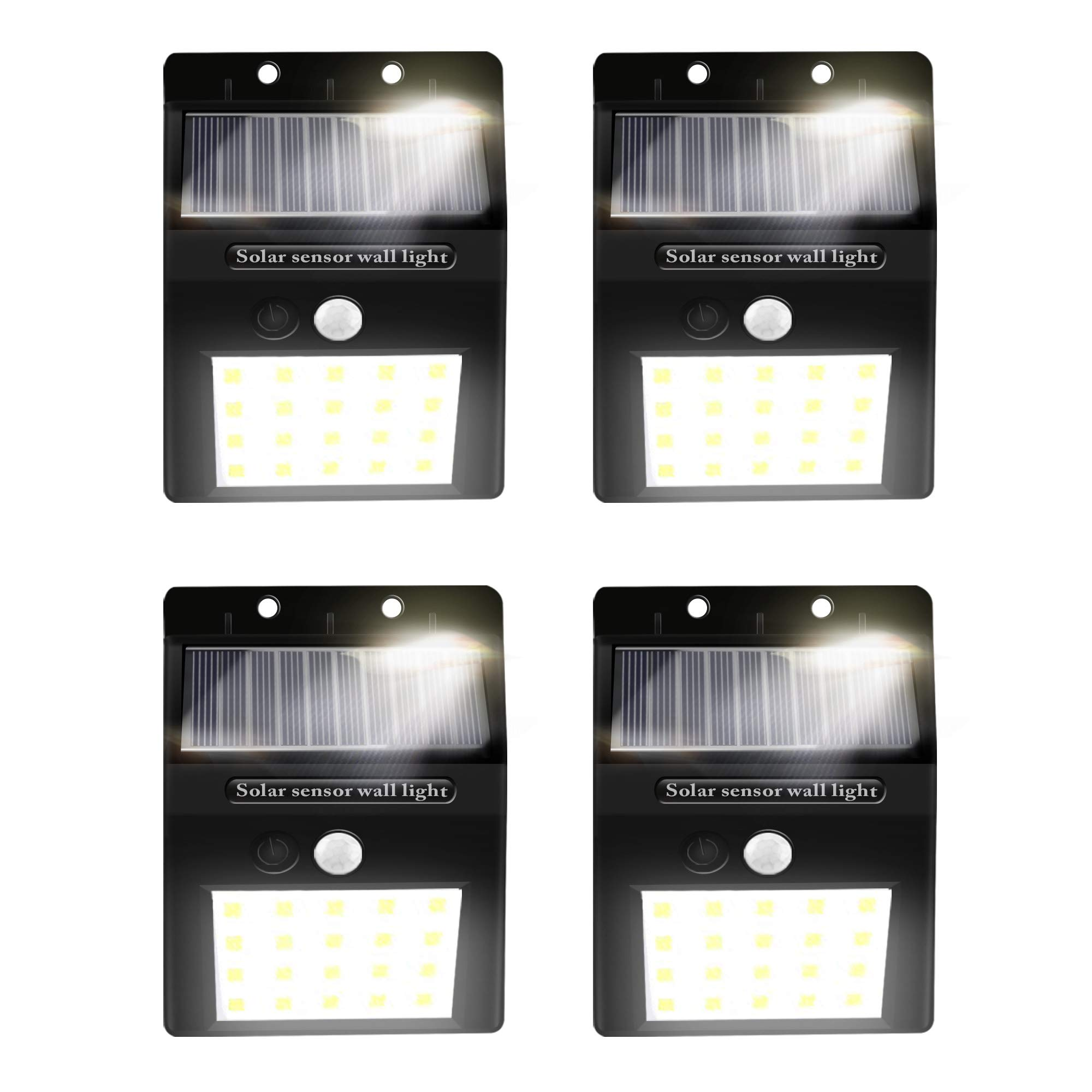 Alture Solar Lights Outdoor 20 LED Solar Motion Sensor Lights Waterproof Security Solar Wall Light for Outdoor Wall Graden Yard Garage Driveway Porch Fence - 4 Pack