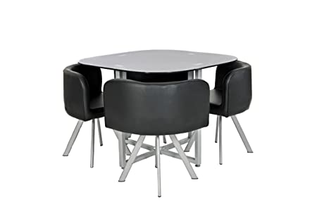 Black Glass Dining Room Table Set And With 4 Faux Leather Chairs Space Saver
