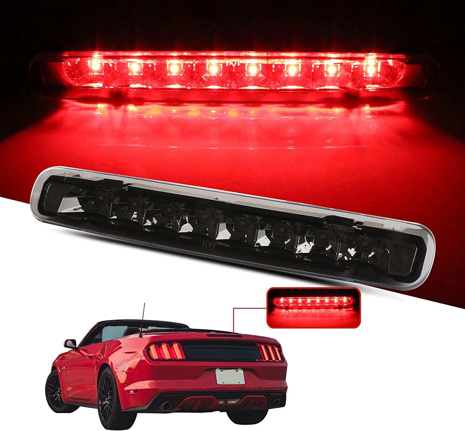 LED 3rd Brake Lights Cargo Lamp Assembly Automotive Tail Lights Clear Lens Fit for 2005-2009 Ford Mustang Replace 923238 6R3Z13A613A