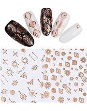 NICOLE DIARY 2 Sheets Metallic 3D Nail Sticker Rose Gold Tribal Dream Catcher Nail Art Adhesive Transfer Sticker (2 patterns)