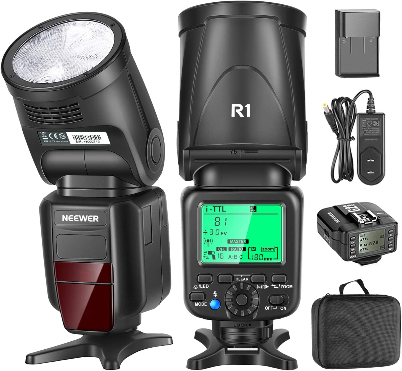 Neewer R1 TTL Flash Speedlite Compatible with Nikon DSLR Cameras, 76Ws 2.4G TTL Round Head, 1/8000s HSS, 2.1s Recycle Time, 11.1V/2000mAh Lithium Battery, 500 Full Power Shots, 2W LED Modeling Lamp