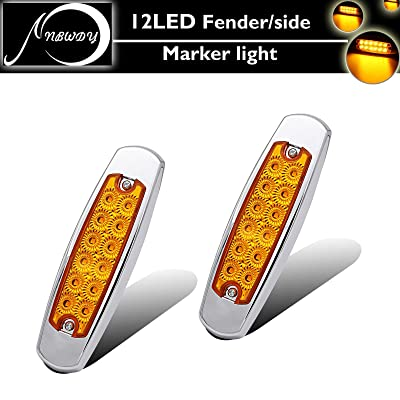"NBWDY 2pc 12LED Marker/Turn Signal Light Clearance Amber SS Bezel, 66.29"" Sealed Trailer Clearance and Side Marker Lights Flush Mount, silver plating rim, flat lens: Automotive"