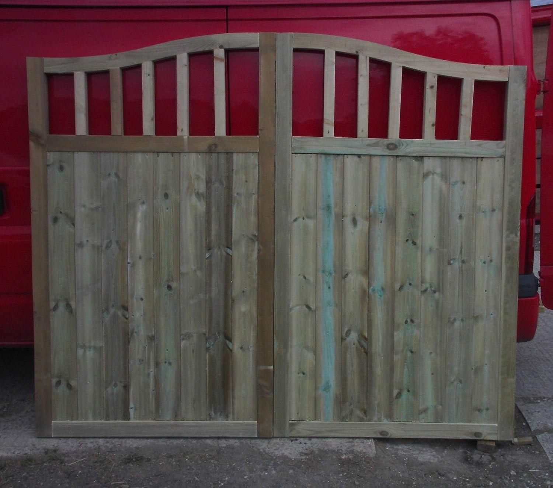 Smileswoodcraft Wooden TVG Swan Neck Driveway Gates (pair) 6ft H (121cm (4ft) W x 182cm H x 5cm D)