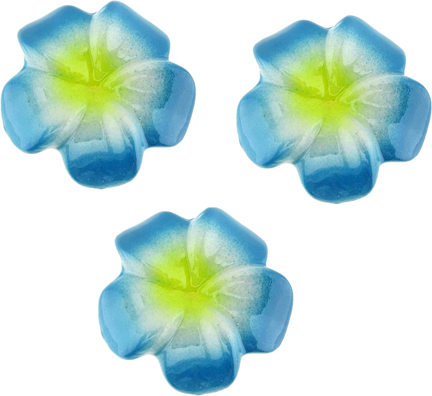 Floating Ceramic Flowers for Pond - Enchanted Garden Decoration, Water Fountain Outdoor Fairy Garden Accents - 3 Inch (Set of 3 Blue)