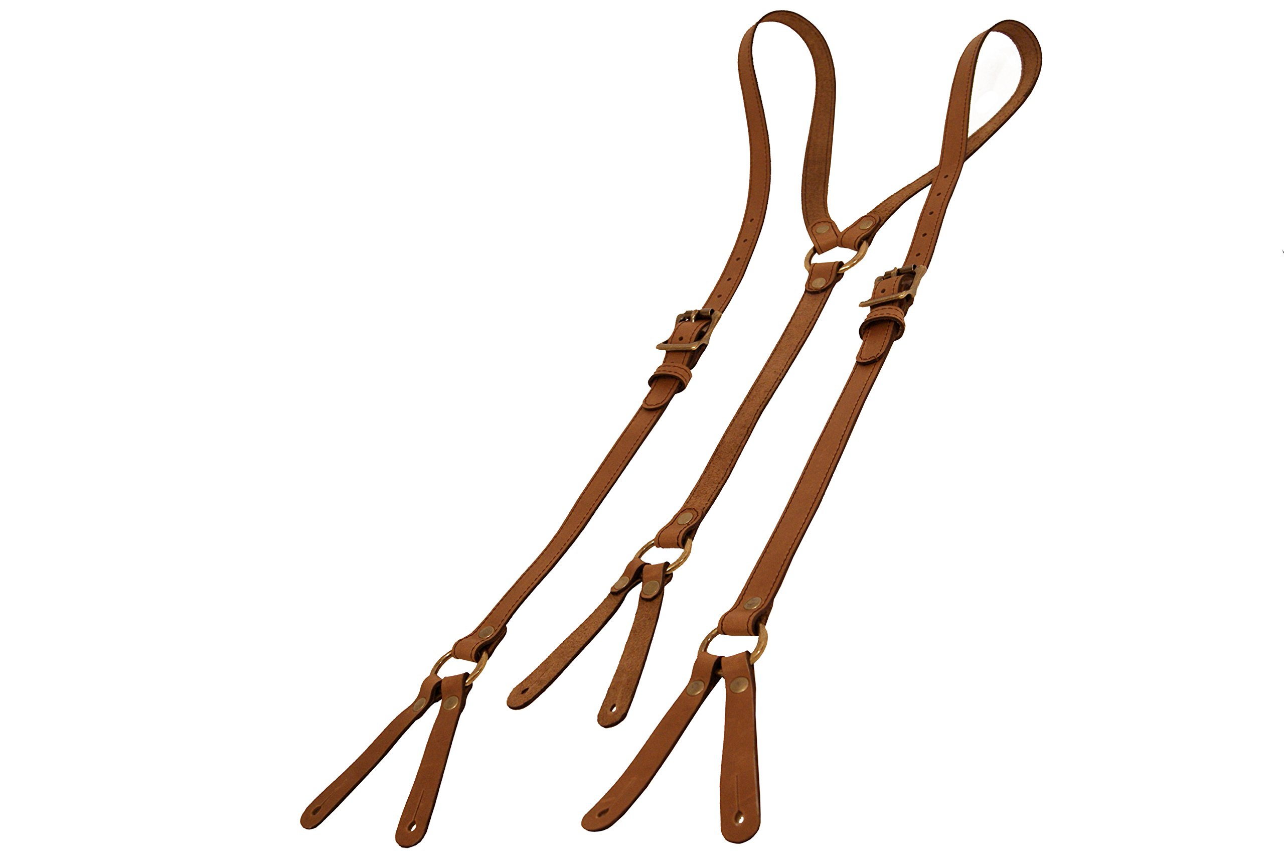 Project Transaction Men's Leather Suspenders XL Brown/Antique Buttonholes