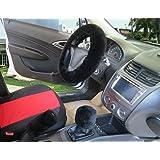 "WENDYWU Winter Warm Short Faux Wool Handbrake Cover Gear Shift Cover Steering Wheel Cover 14.96""x 14.96"" 1 Set 3 Pcs (Black)"