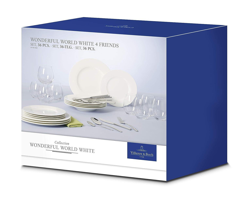 Villeroy & Boch 10-1155-9032 Set de Mesa de 36 Piezas para 4 Personas, Porcelana, Blanco, 37 x 26.5 x 39 cm: Amazon.es: Hogar