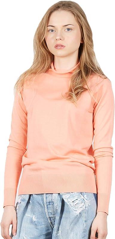 Jersey Suéter de Manga Larga con Cuello Alto Falso de Mujer en 100% algodón Pima Color Rosa tamaño S: Amazon.es: Ropa y accesorios
