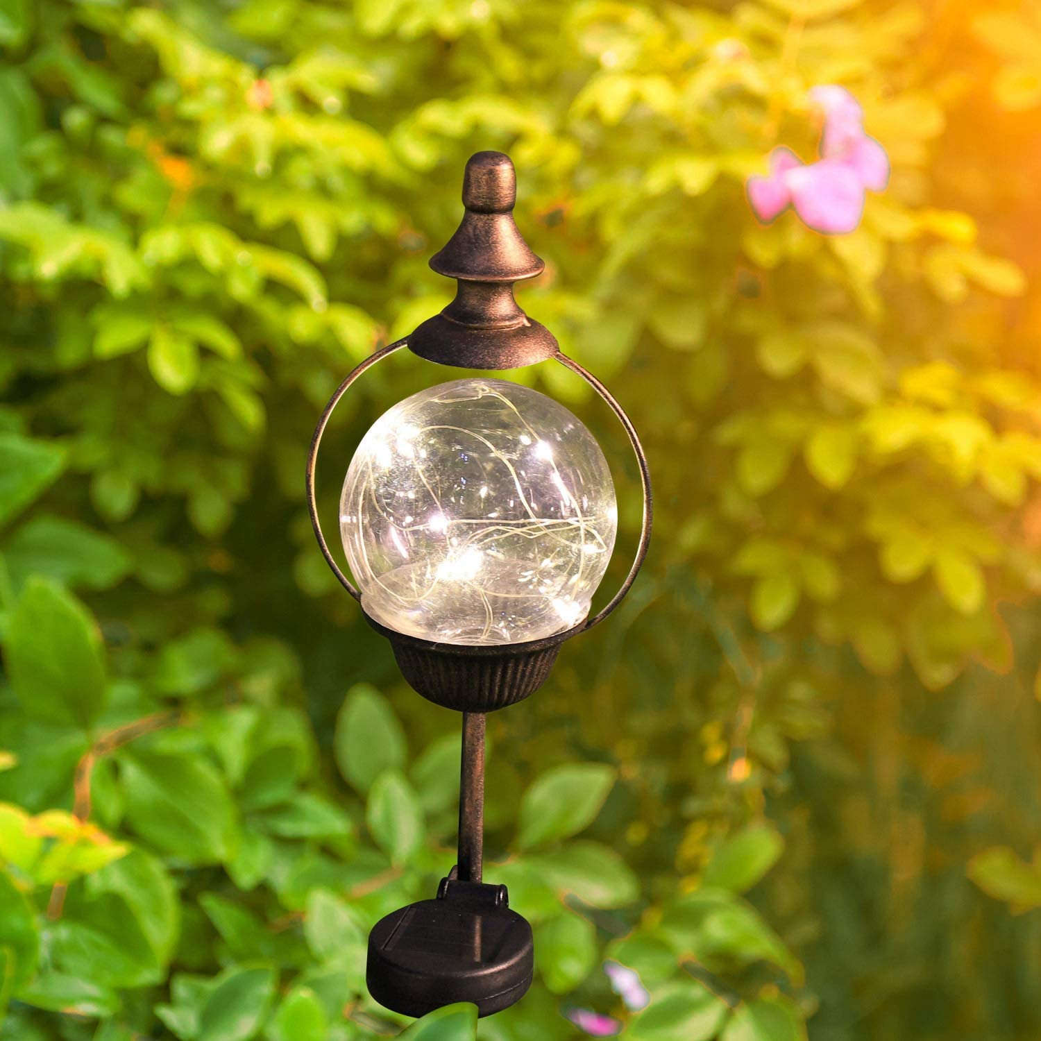 Outdoor Decorations for Patio Lawn Garden Yard with Solar Globe Lights. ExcMark 2 Pack Solar Garden Lights Outdoor Decorative Stakes