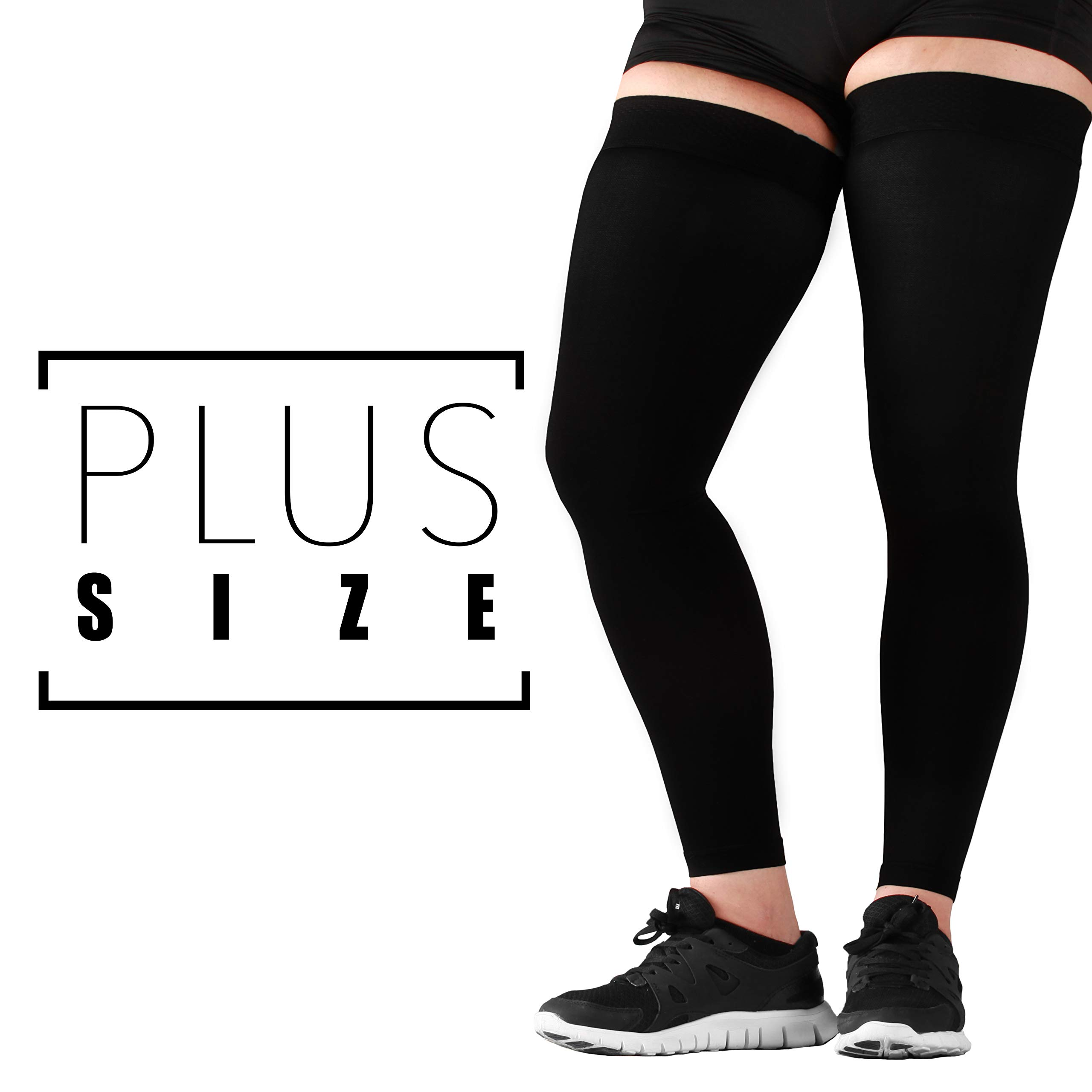 Mojo Compression Plus Size Recovery Compression Thigh Sleeve - Treat Hamstring and Quad Injuries -20-30mmhg Graduated Support - Extra Wide Hamstring Thigh Sleeve (3XL, Black) by Mojo Compression socks