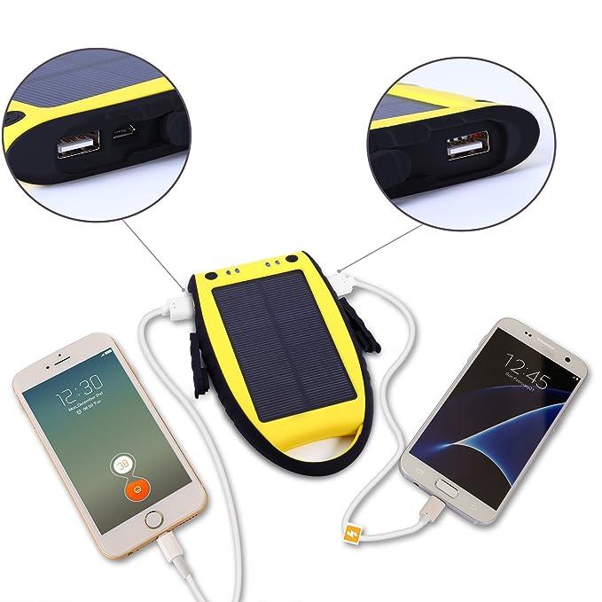 Cargador Solar de 7000mAh YOKKAO Batería Solar Externa portátil 2 USB con LED (Amarillo): Amazon.es: Electrónica