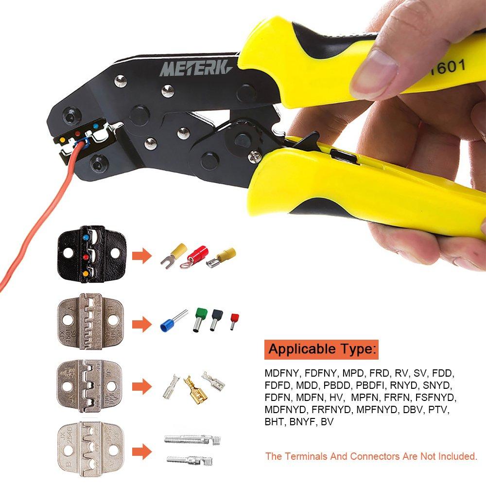 Meterk Crimping Tool Wire Crimpers With Carbon Steel Support 0.1-6mm/² Adjustable Crimping Range Comfort Grip Terminals Connectors Ratcheting