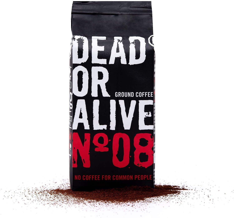 DEAD OR ALIVE Moka No08 - 250g de café molido - Café moka fuerte y poco ácido con carácter - Robusta más fino con un poco de granos de arábica - Preparación con la estufa - Moka para los bialetti