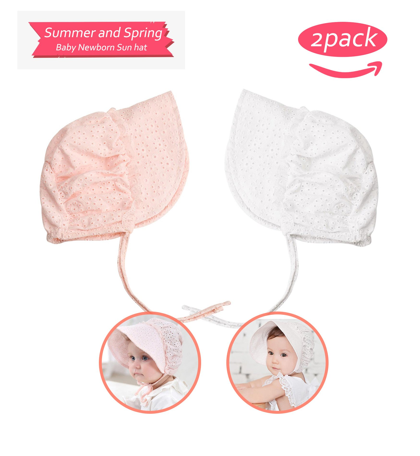 Sumolux Summer and Spring Baby Newborn Sweet Lace Princess Fishing Hat Hollow Court Cap Sun Hats