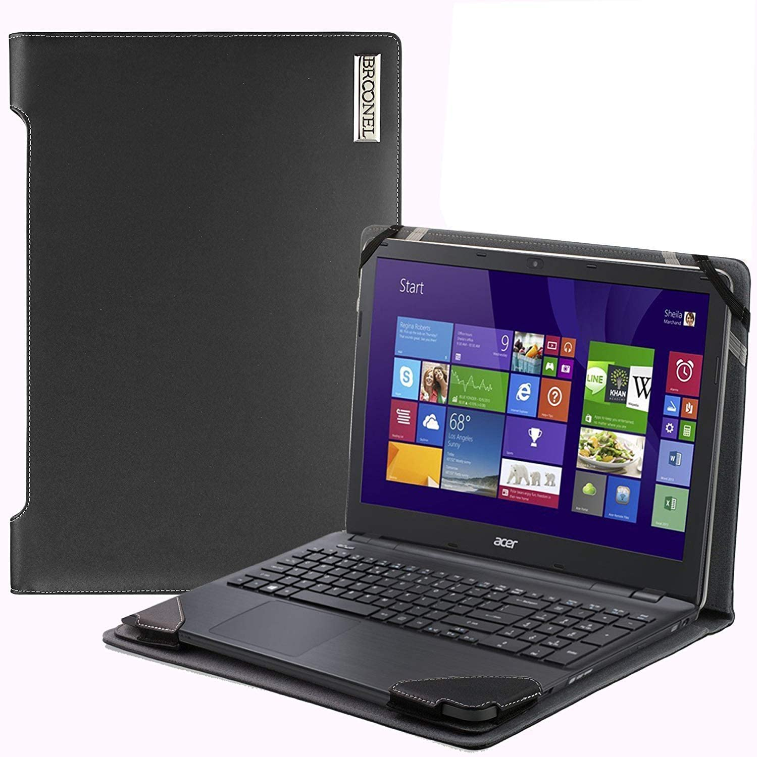 Broonel - Profile Series - Black Leather Laptop Case Compatible with The Acer Swift 3 (SF314-42) 14""