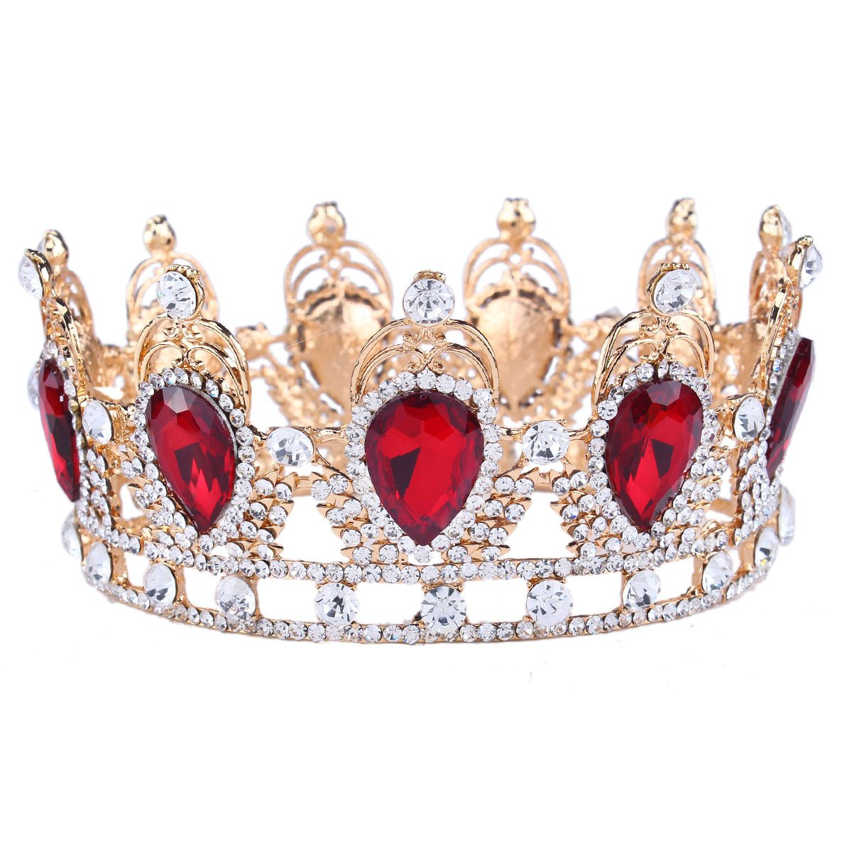 Women's Queen of Hearts Rhinestone Red Crystal Teardrop Crown - DeluxeAdultCostumes.com