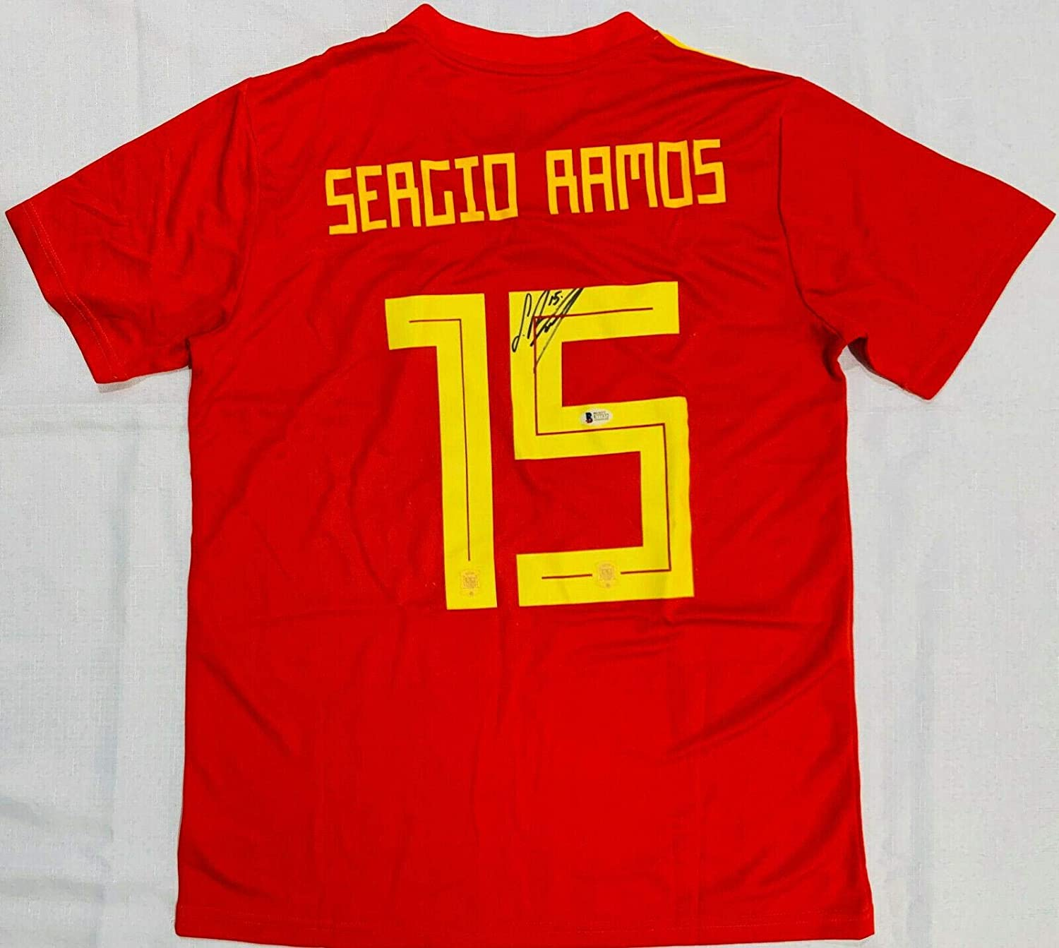 buy online eac43 4d696 Autographed Sergio Ramos Jersey - Spain World Cup Beckett ...