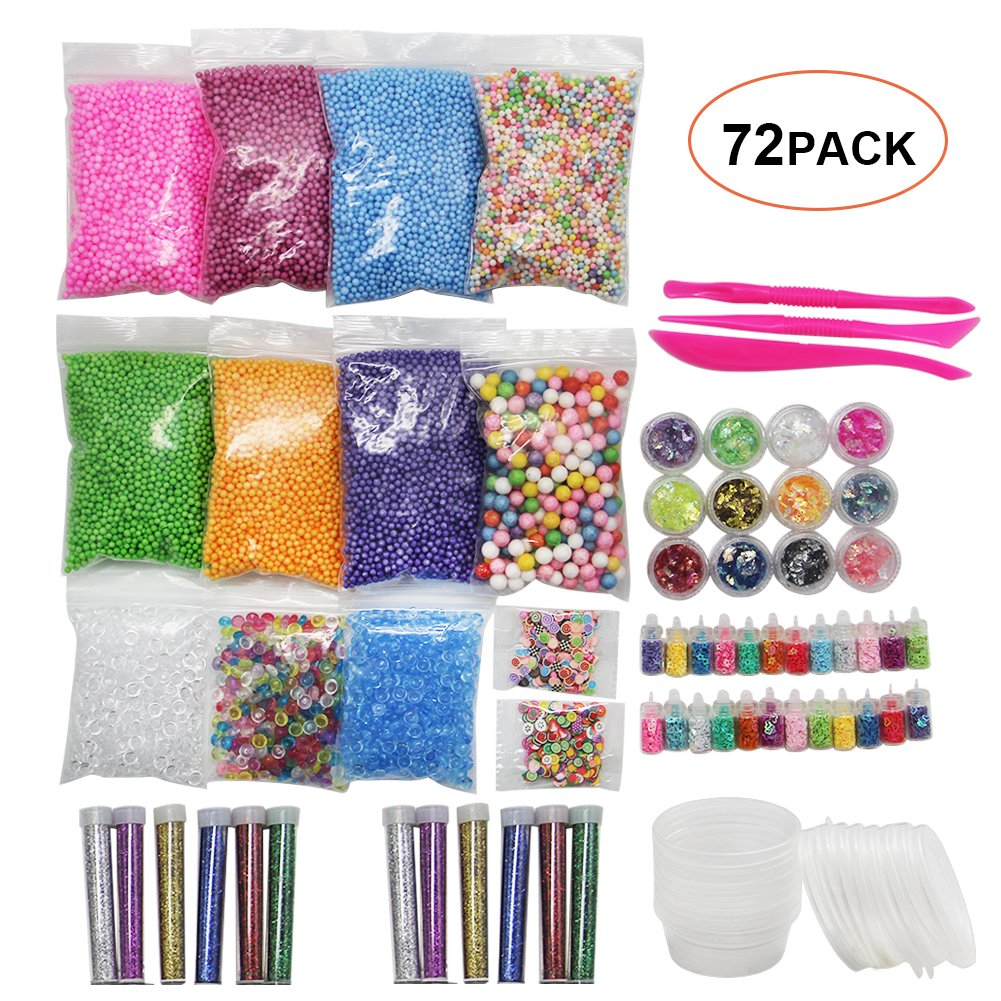 YOFIT 72 Pack Slime Supplies Kit Slime Beads Charms including Fishbowl Beads
