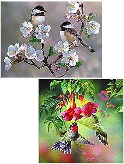 5D DIY Diamond Painting Kit Birds Scenery Embroidery Cross Stitch Mosaic Home