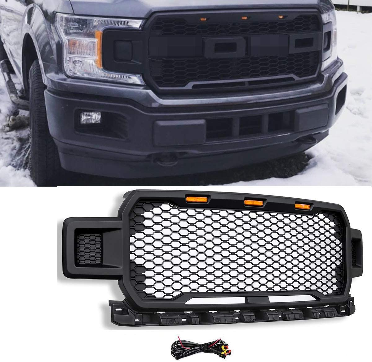 Black Replacement Grille ABS Front Mesh Grill Fit for 2018-19 Ford F-150 with 3 Amber LED Lights with Wiring Harness Kits and 2 Side LED Lights