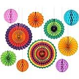 GoFriend, decorazione per festa, 10 pezzi, in carta colorata, a ventaglio, carta velina a nido d'ape, decorazione da appendere adatta a compleanni, matrimonio, carnevale, baby shower, feste Colour-1