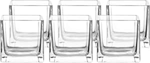 """Whole Housewares 4"""" Square Glass Vase, Candle Holder, 6 Pack Clear Cube Centerpiece"""