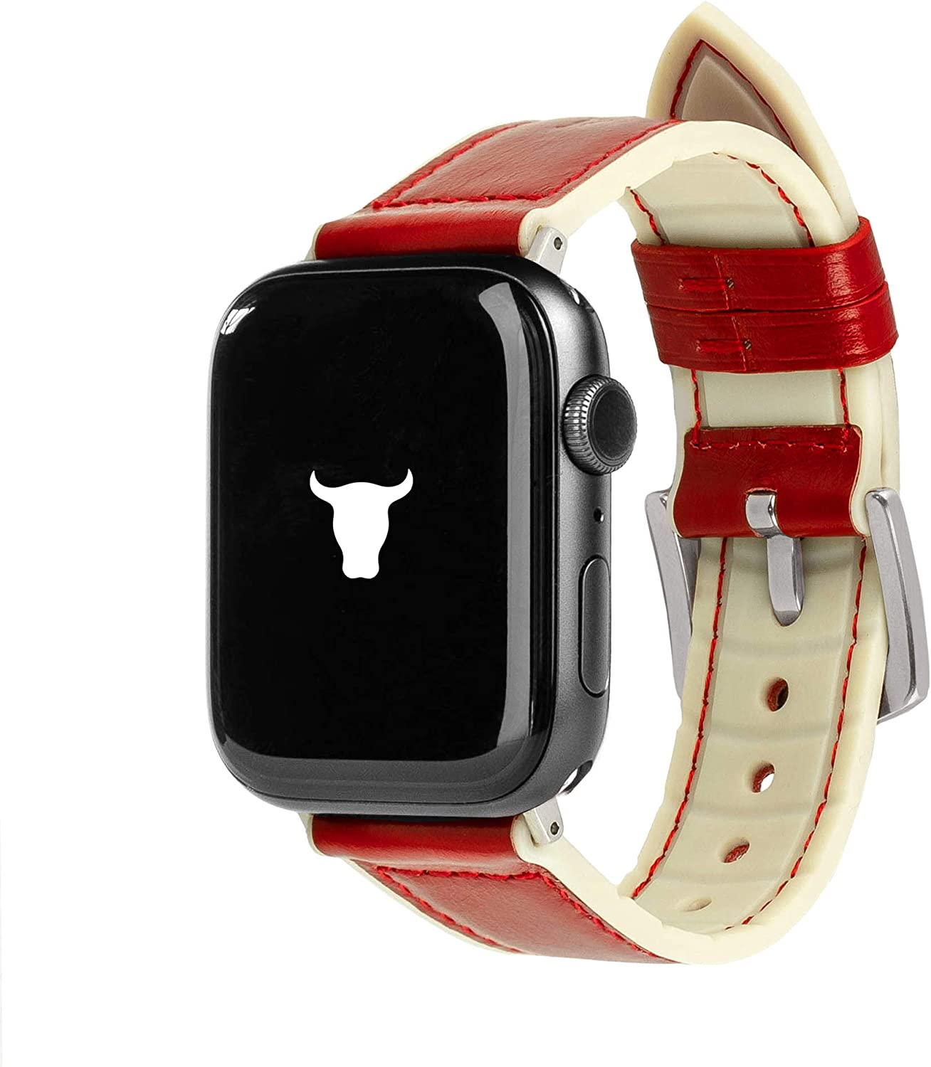 TORRO Leather Watch Strap Compatible with Apple Watch with Brushed Silver Connector and Buckle (Cream Silicone with Red Leather for 38mm / 40mm Apple Watch)