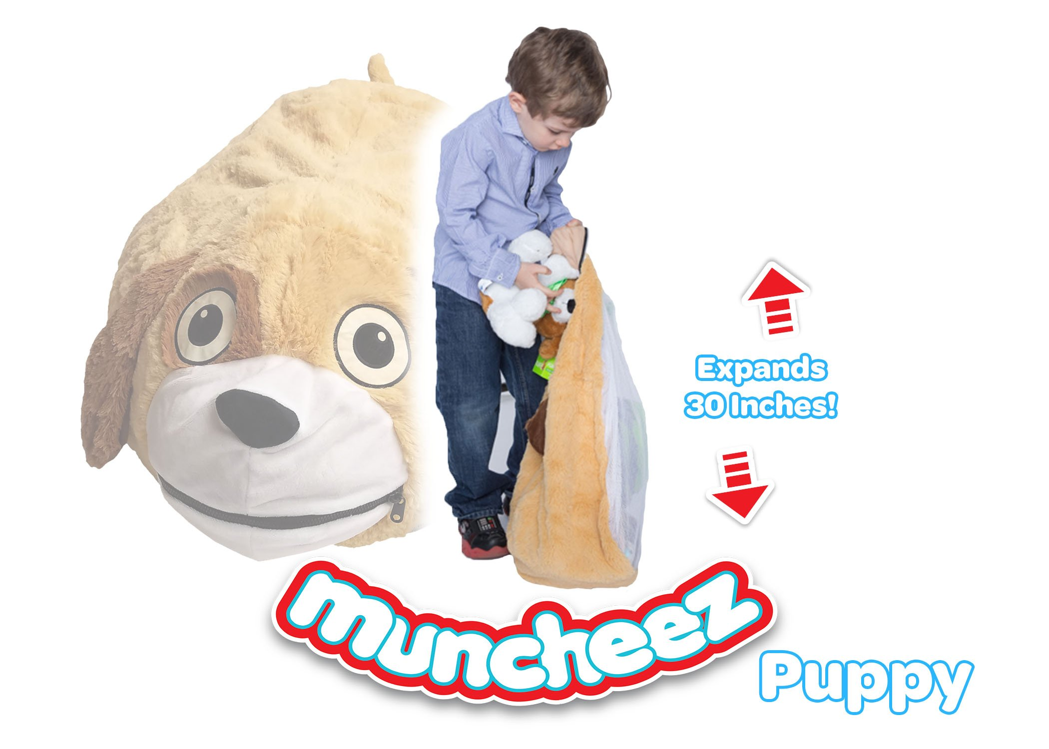 Muncheez Stuffed Animal Toy Storage for Children, Puppy - Perfect for Kids - SUPER SOFT Fabric - 7 Plush Animal Choices - Upgrade Your Mesh Toy Nets & Toy Hammock - Extra Storage for Your Toys