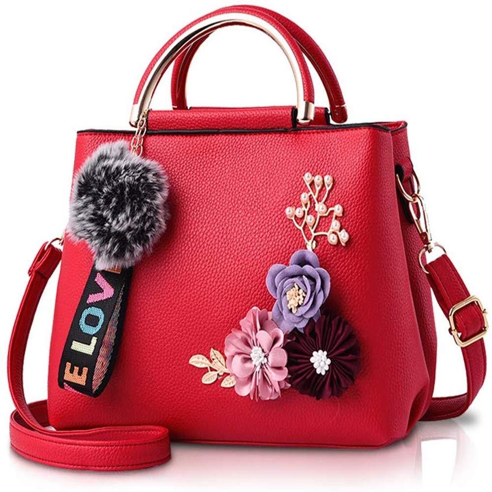 Bolso De Cuero Para Mujer Bolsos De Hombro Con Flor Bolso De Mano Vintage Bolso De Mano De Dise/ñador Con Pomp/ón Rojo