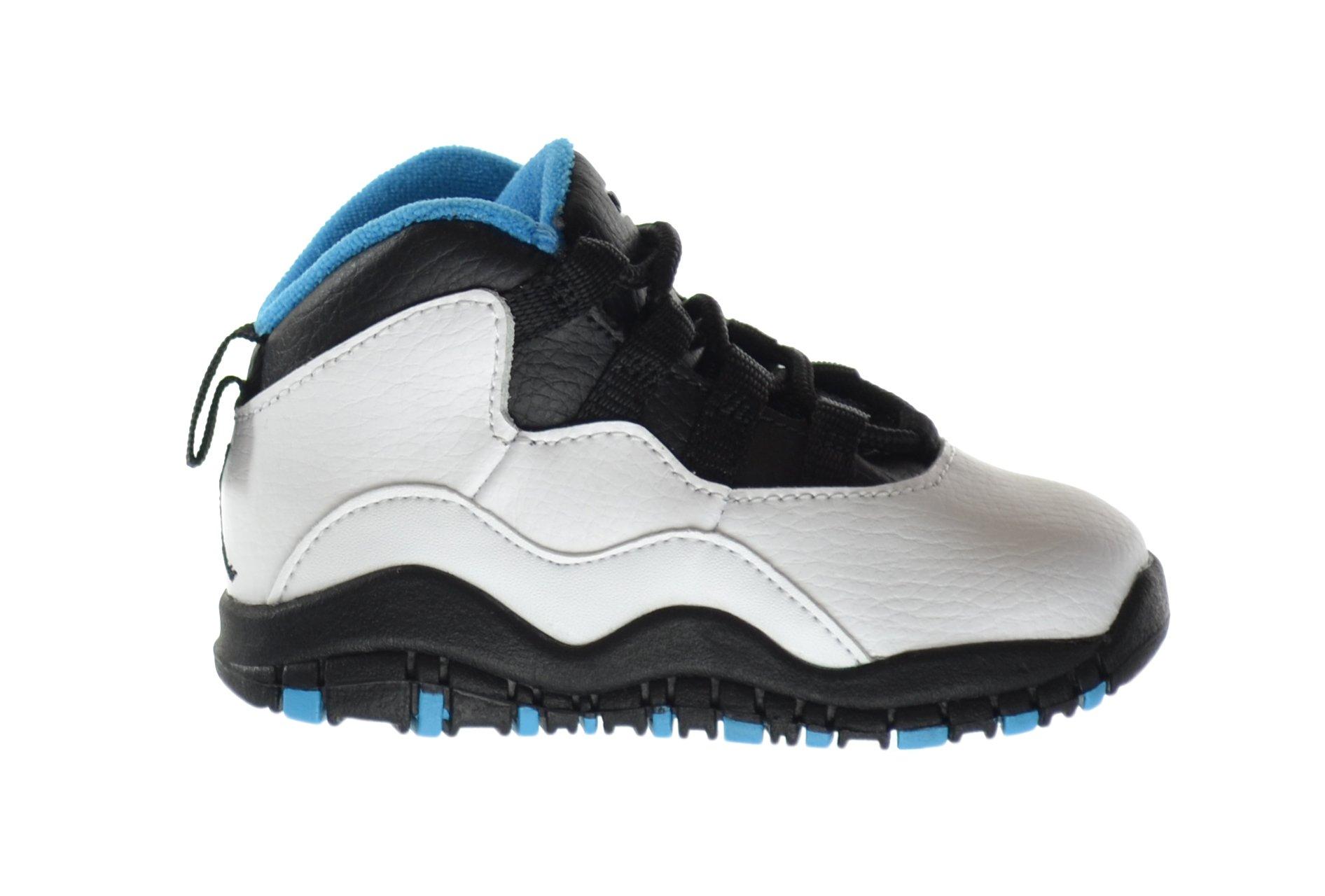 Jordan 10 Retro (TD) Baby Toddlers Basketball Shoes White/Dark Powder Blue-Black 310808-106 (9 M US) by Jordan