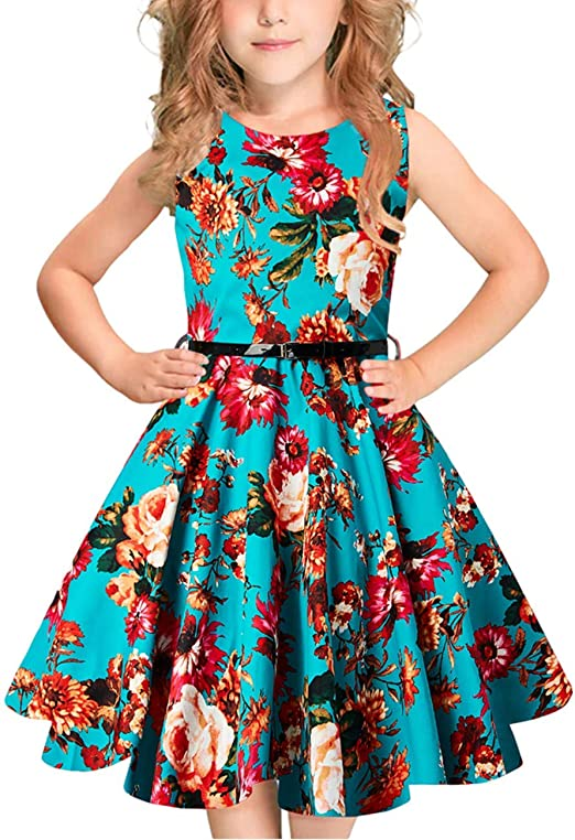 Idgreatim Ragazza Senza Maniche Vintage Vestito Rockabilly Floral Print Swing Abiti da Festa