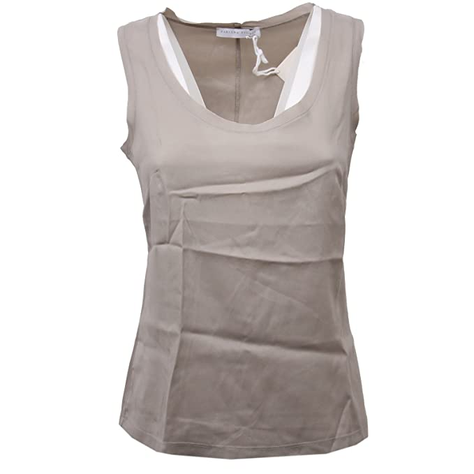 FABIANA FILIPPI D1442 Canotta Donna Seta Tortora Brown Silk t-Shirt Woman [40]: Amazon.es: Ropa y accesorios