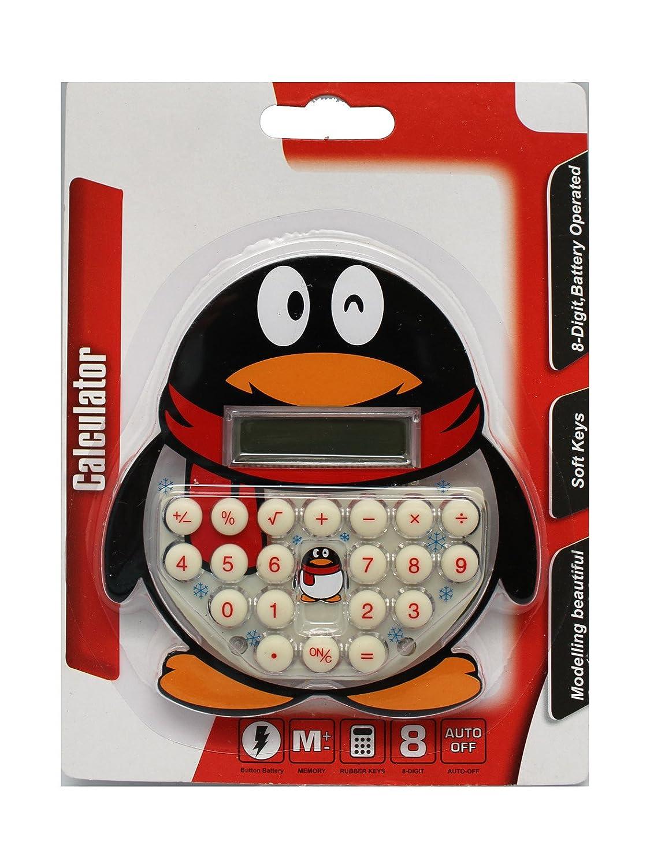ブラックペンギンin a赤スカーフCalculator – キッズSmall電卓   B00DML5PL8