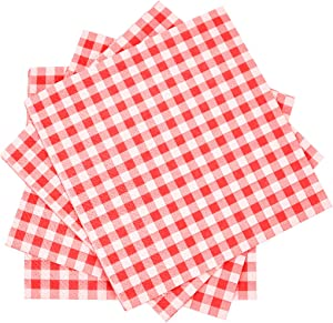 Cocktail Napkins Gingham 3-ply Beverage Napkins 80PCS Red and White Napkins Restaurant Bar Paper Napkins for Picnic Birthday Parites
