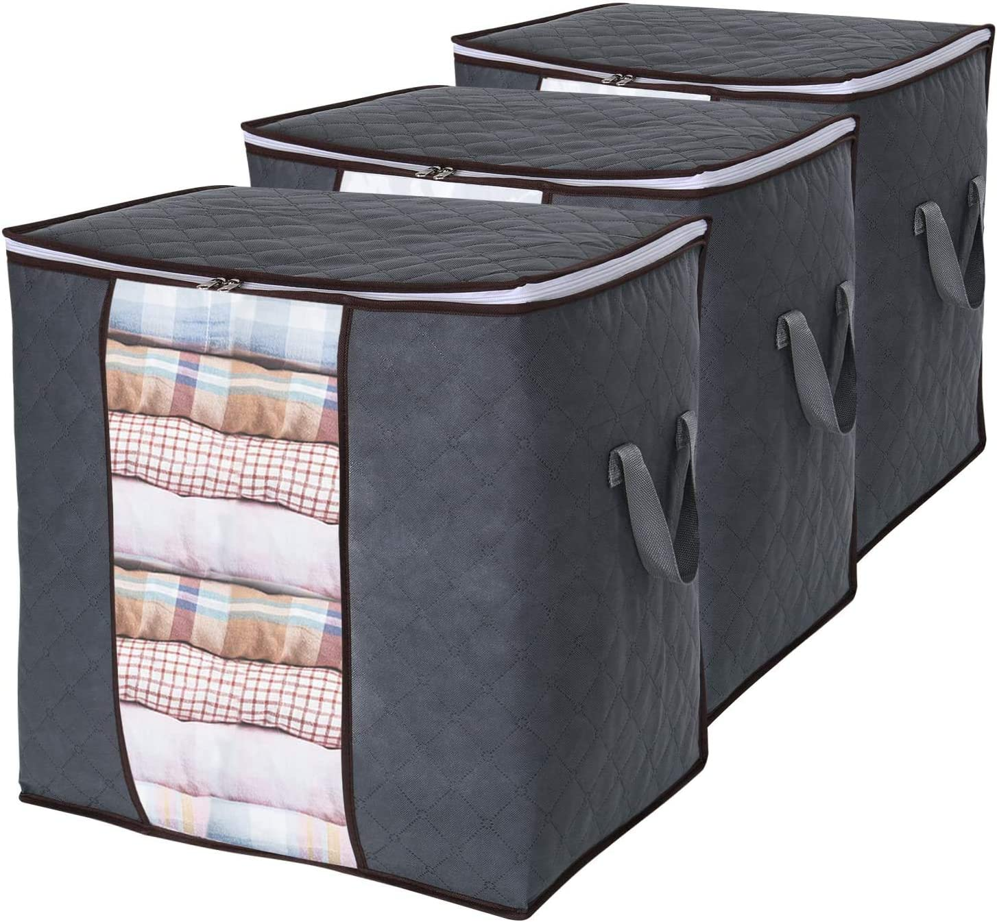 Amazon Com Lifewit Clothes Storage Bag 90l Large Capacity Organizer With Reinforced Handle Thick Fabric For Comforters Blankets Bedding Foldable With Sturdy Zipper Clear Window 3 Pack Grey Home Kitchen