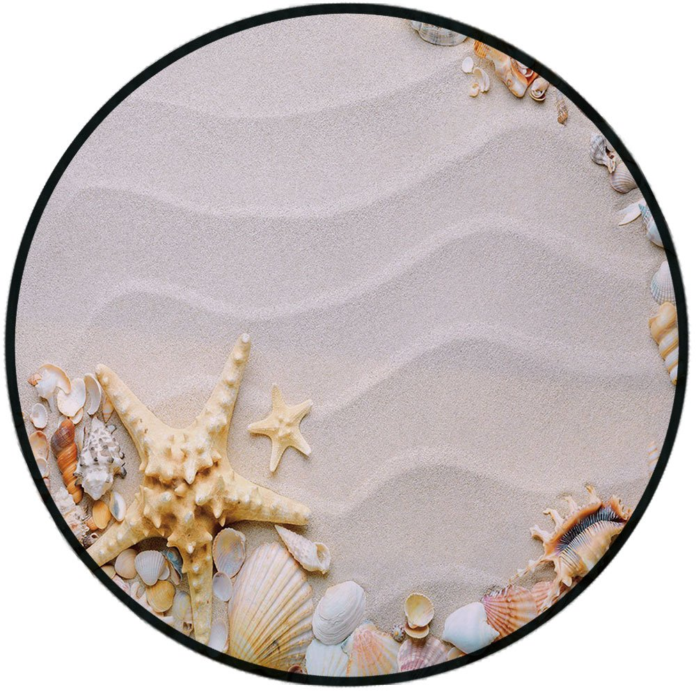 Printing Round Rug,Starfish Decor,Seacoast with Sand Colorful Various Seashells Tropics Aquatic Wildlife Theme Decorative Mat Non-Slip Soft Entrance Mat Door Floor Rug Area Rug For Chair Living Room,M