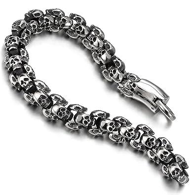 df9291e4a6c COOLSTEELANDBEYOND Gothique - Biker - Bracelet Homme Femme 3D Crâne en  Acier Inoxydable - Tête de