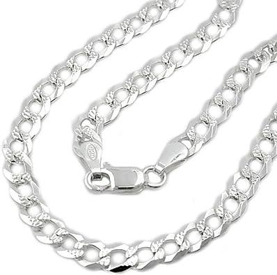 Latotsa Silberkette Sterling Silber 925 Panzer Kette Halskette Panzerkette Schmuck flach mit Muster