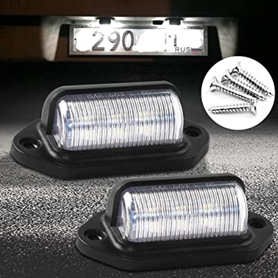 LED License Plate Light Lamp - License Tag Bolt Lights Waterproof 12V 6 SMD Car Step Courtesy Dome/Cargo Map Light for Trailers, RV Trucks 6500K Xenon White, 2pcs (White): Automotive
