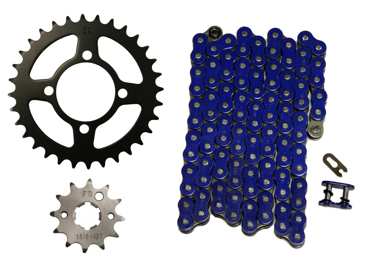Blue 520x74 Drive Chain & 12/32 Sprockets 2004-2013 Yamaha Grizzly 125 YFM125 Factory Spec