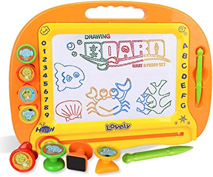 Kids Art Magnetic Drawing Board Doodle Writing Board With 3 Stamps and 1 Pen